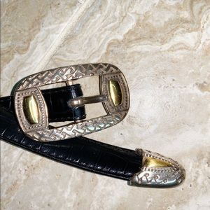 Etienne Aigner Leather Belt with Brass Buckle